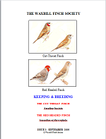 front cover featuring image of cut-throat finch and a red-headed finch.