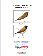 front cover featuring image of a Javan munia and a Moluccan munia.