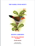 front cover featuring image of an orange-cheeked waxbill.