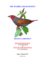 front cover featuring image of a red- and a yellow-winged pytilia.