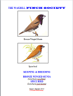 front cover featuring image of a bronze-winged munia and a spice finch